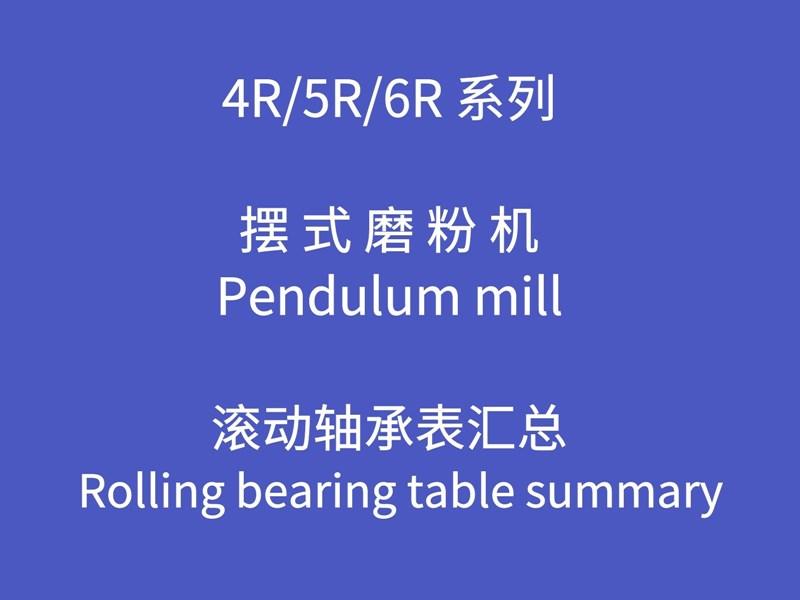 磨粉机技术资料-R型摆式磨粉机滚动轴承表