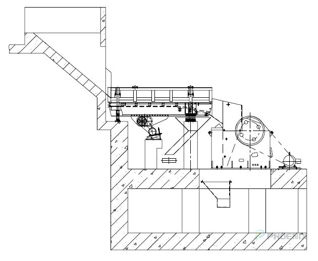 Installation sketch of head-breaking unit